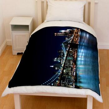 brooklyn bridge new york night bedding throw fleece blanket
