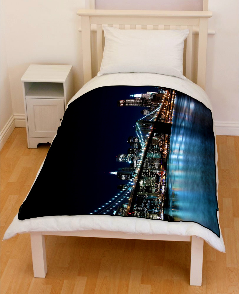 brooklyn bridge new york night bedding throw fleece blanket