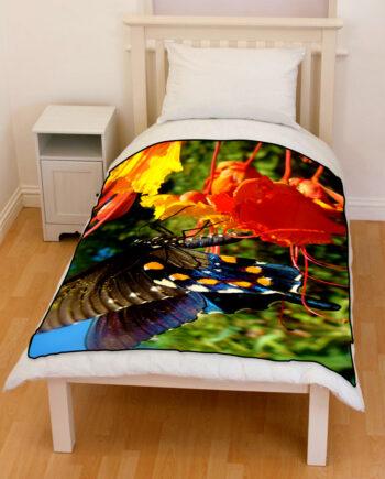 butterfly red flowers bedding throw fleece blanket