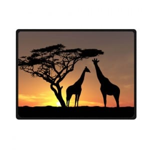 couple giraffes sunset bedding throw fleece blanket