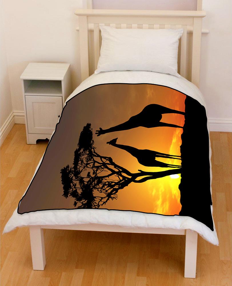 couple giraffes sunset bedding throw fleece blanket