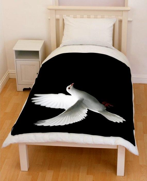 dove flying bedding throw fleece blanket