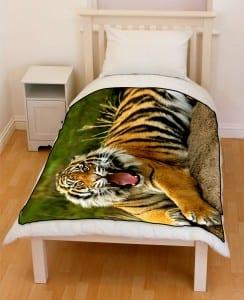 fierce bengal tiger bedding throw fleece blanket