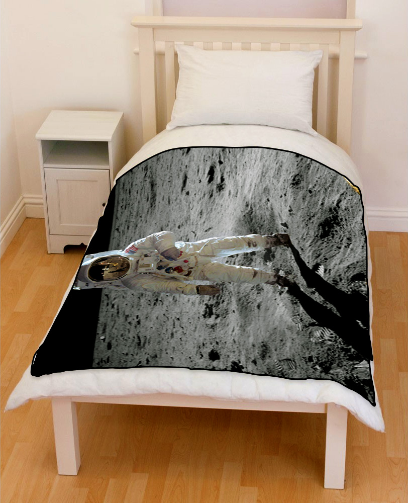 first man on moon bedding throw fleece blanket