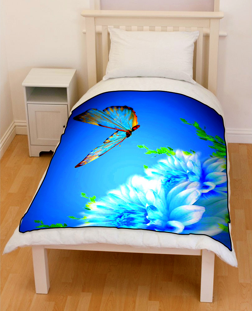 flapping butterfly on blue flowers bedding throw fleece blanket
