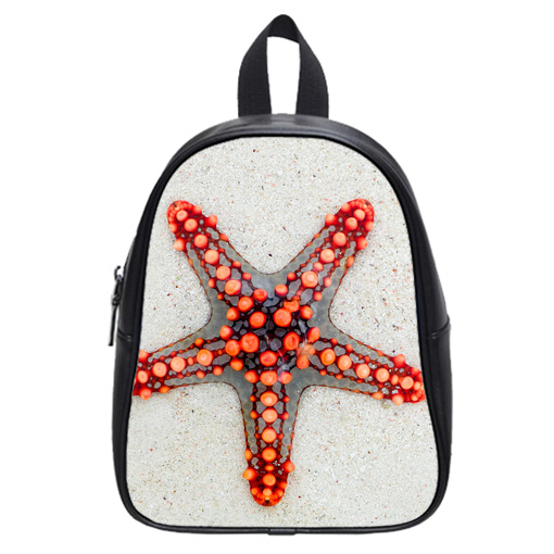 starfish on sand school bag