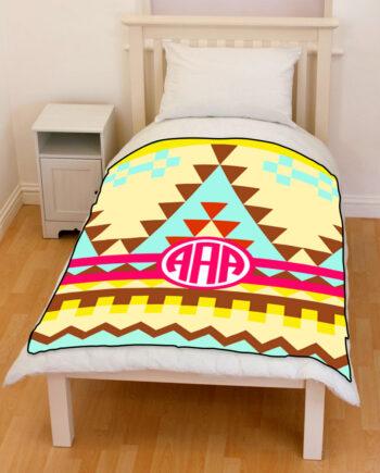 monogrammed aztec tribal pattern bedding throw fleece blanket