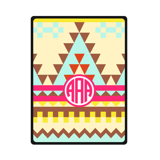monogrammed aztec tribal pattern bedding throw fleece blanket