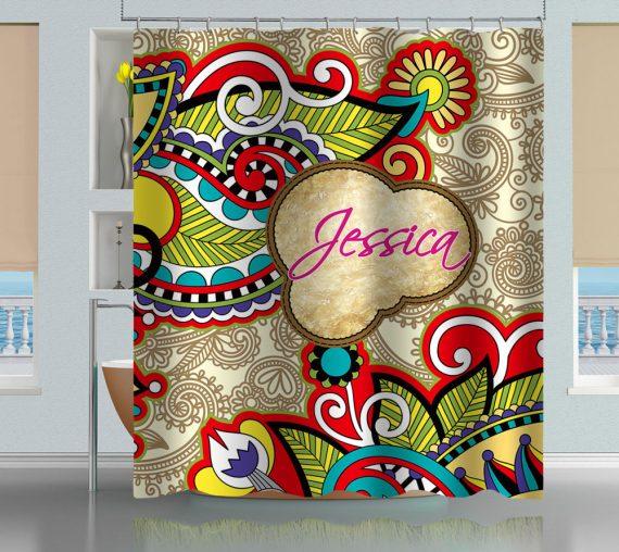 vintage floral paisley shower curtain