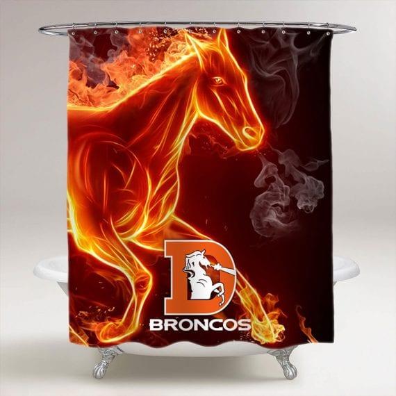 Flaming Horse Denver Broncos Bathroom Shower Curtain