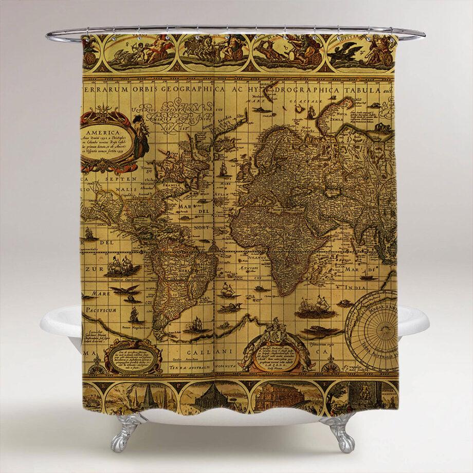 antique world map circa 1499 bathroom shower curtain