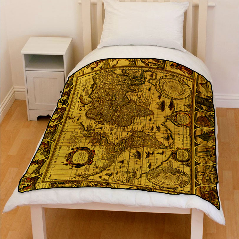antique world map circa 1499 bedding throw fleece blanket