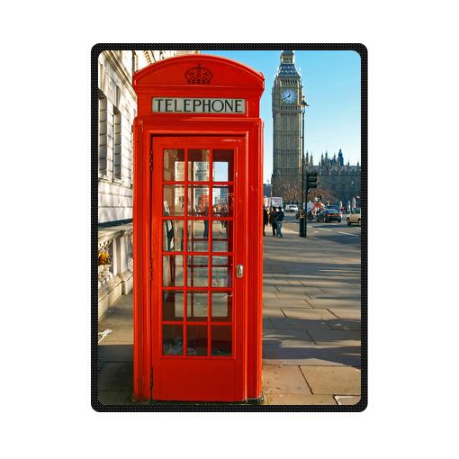London red telephone booth bedding throw fleece blanket