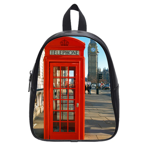red telephone booth london school bag