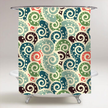 abstract colored tiled paisley shower curtain
