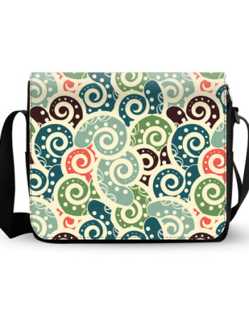 abstract colored tiled paisley messenger bag