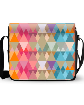 abstract-design colored triangles messenger bag