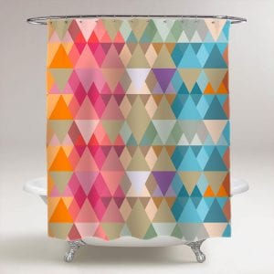 abstract background of colored triangles of different sizes shower curtain