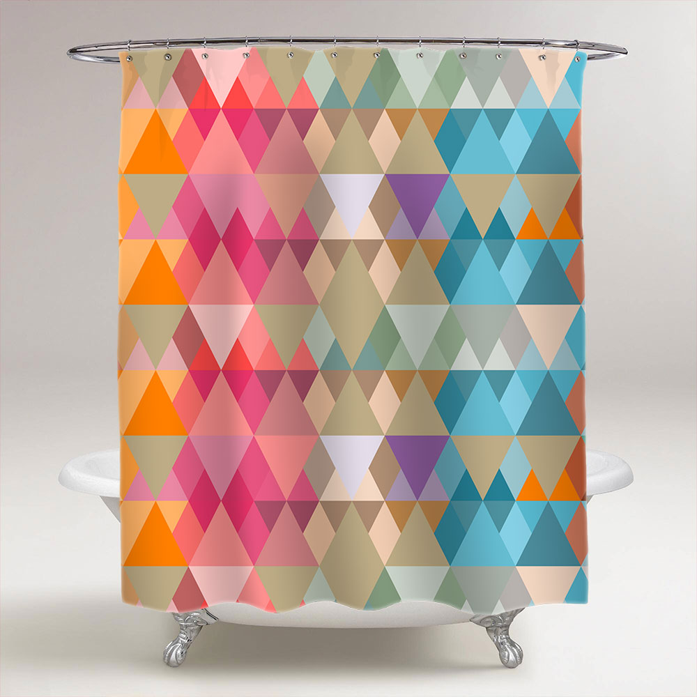 Abstract Triangles Of Different Sizes Bathroom Shower Curtain Creativgoods