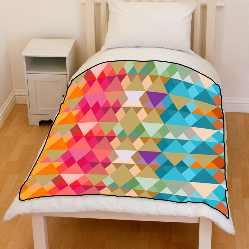 abstract color multi size triangles bedding throw fleece blanket