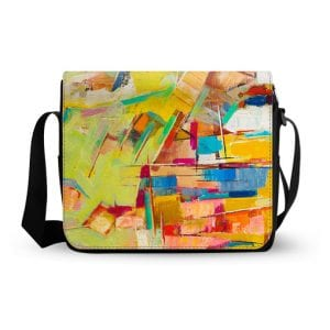 abstract colorful oil painting canvas messenger bag