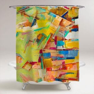 abstract colorful oil painting-on canvas shower curtain