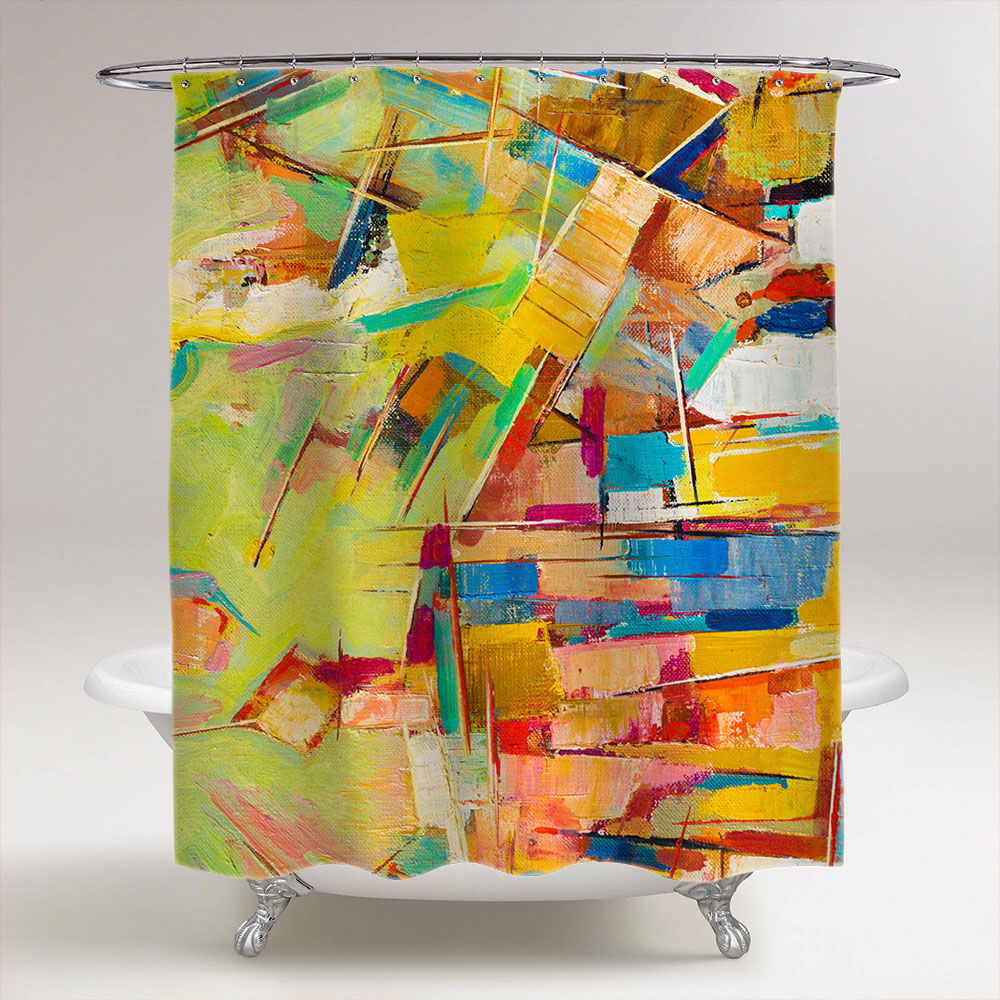 Abstract colorful oil painting on canvas bathroom shower Colorful shower curtains