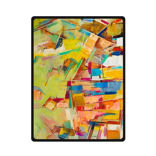 abstract colorful oil painting-on canvas bedding throw fleece blanket