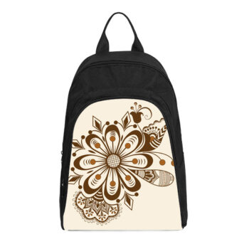 abstract floral indian mehndi casual backpack