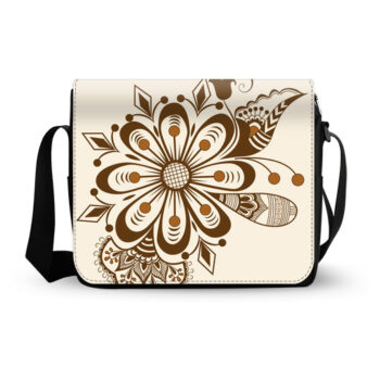 abstract floral indian mehndi messenger bag