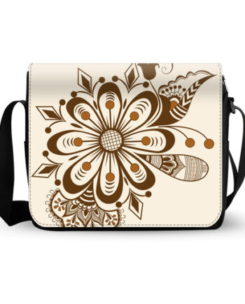abstract floral indian mehndi messenger bag