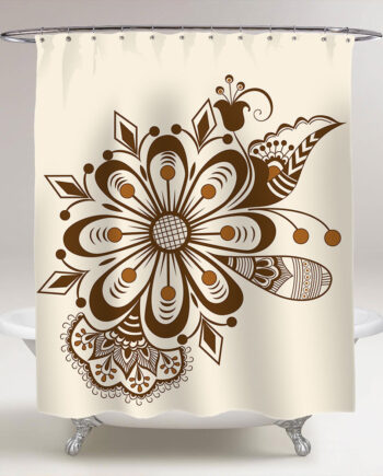 abstract floral indian mehndi style shower curtain