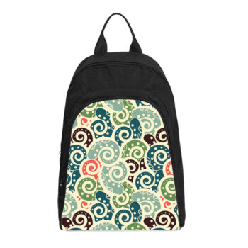 colored background tiled with paisley casual backpack