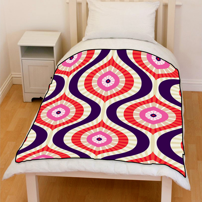 abstract background in pink red & blue bedding throw fleece blanket