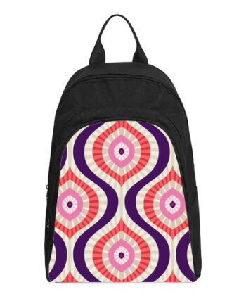 abstract background in red pink blue casual backpack