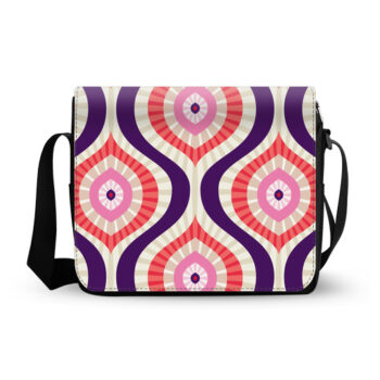 abstract background in red pink blue messenger bag