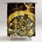 clock mechanism steampunk shower curtain