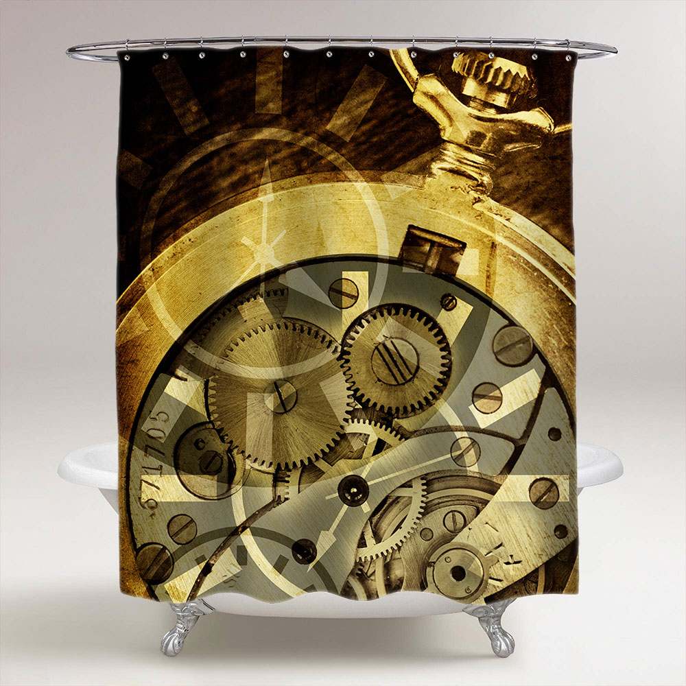 clock mechanism steampunk shower curtain