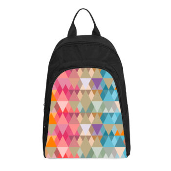 abstract bright triangles pattern casual backpack