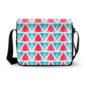 abstract bright triangles pattern messenger bag