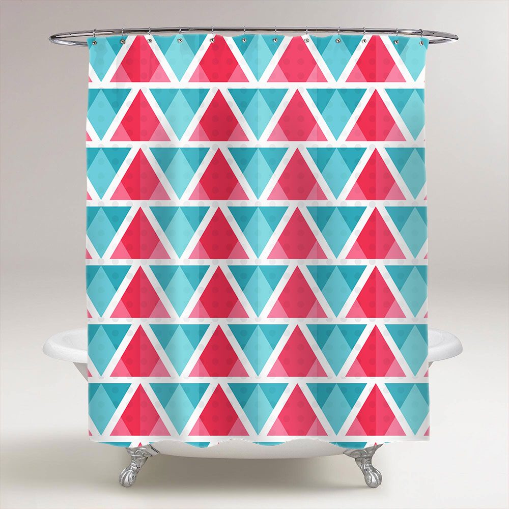 Abstract Bright Triangles Pattern Bathroom Shower Curtain