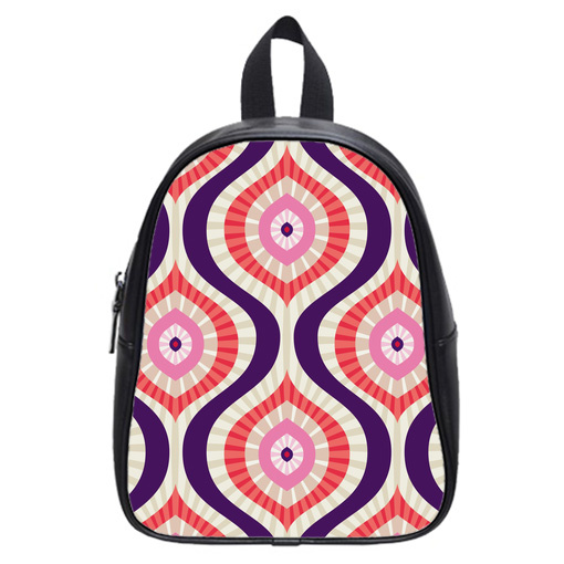 abstract in red pink blue school bag