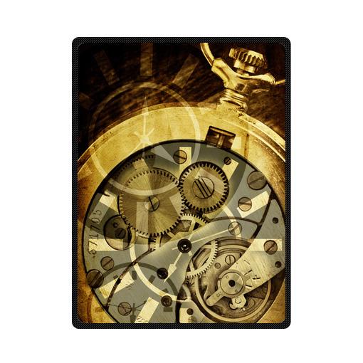 abstract steampunk clock bedding throw fleece blanket