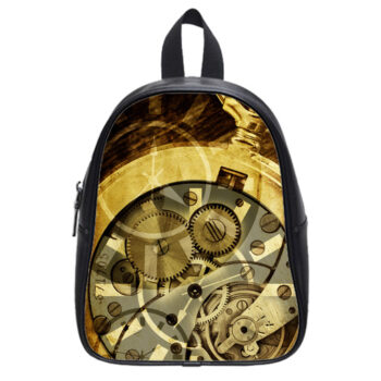 steampunk clock mechanism school bag