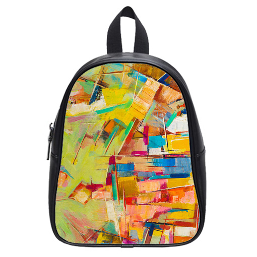 colorful oil painting on canvas school bag
