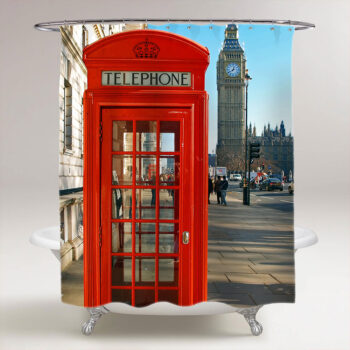 red telephone booth london shower curtain