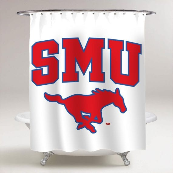 SMU Southern Methodist University Mustang College Football Bathroom Shower Curtain