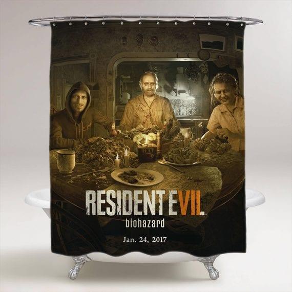 Resident Evil 7 Biohazard Dinner Table Bathroom Shower Curtain