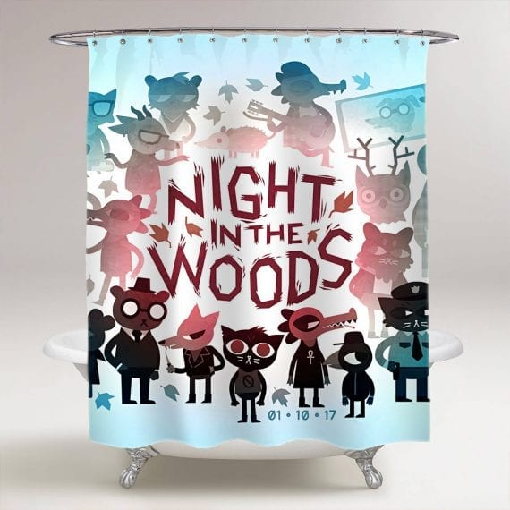 Night In The Woods Bathroom Shower Curtain