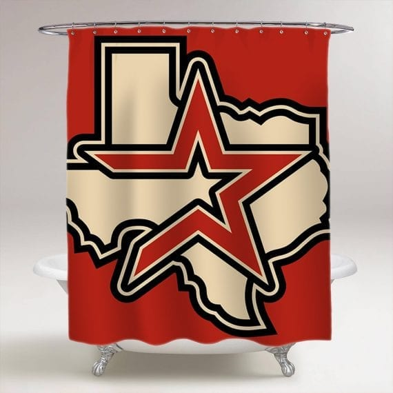 Houston Astros Baseball MLB Bathroom Shower Curtain